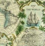Mapa hermoso del vintage del modelo del mundo en servilleta Fotografía de archivo