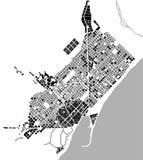 Mapa histórico del centro de ciudad de Barcelona, España Foto de archivo libre de regalías