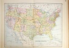 Mapa histórico dos EUA Fotos de Stock