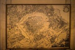 Mapa histórico en ayuntamiento, Austria Viena imagen de archivo