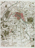 Mapa histórico de Paris Foto de Stock Royalty Free