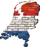 Mapa holandés en una pared de ladrillo Fotos de archivo libres de regalías