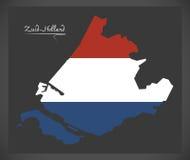Mapa holandês da Zuid-Holanda com a bandeira nacional holandesa Imagens de Stock