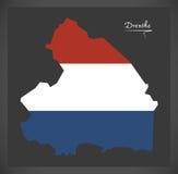 Mapa holandês de Drenthe com a bandeira nacional holandesa Fotografia de Stock