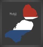 Mapa holandês de Flevoland com a bandeira nacional holandesa Fotografia de Stock Royalty Free