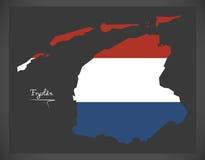Mapa holandês de Fryslan com a bandeira nacional holandesa Foto de Stock
