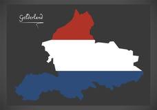 Mapa holandês de Güéldria com a bandeira nacional holandesa Imagens de Stock Royalty Free