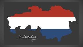 Mapa holandês de Noord-Brabante com a bandeira nacional holandesa Imagens de Stock Royalty Free