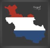 Mapa holandês de Overijssel com a bandeira nacional holandesa Fotografia de Stock Royalty Free