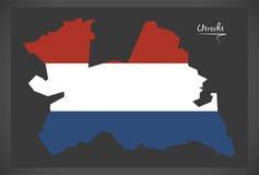 Mapa holandês de Utrecht com a bandeira nacional holandesa Imagens de Stock Royalty Free