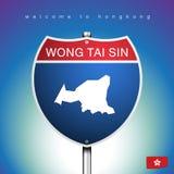 Mapa Hongkong W Amerykańskich znakach i Projektujemy Zdjęcie Royalty Free