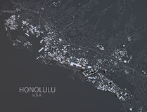 Mapa Honolulu, satelitarny widok obraz stock