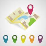 Mapa i markiery ustawiający Fotografia Royalty Free