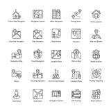 Mapa i nawigacj Kreskowe ikony Ustawiać ilustracja wektor