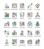 Mapa i nawigacj Płaskie ikony Ustawiać Zdjęcia Royalty Free