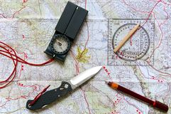 Mapa i plenerowy wyposażenie Fotografia Royalty Free