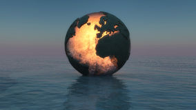 Mapa. Illustration of sunset with a globe floating on the sea royalty free illustration