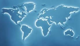 Mapa iluminado de la tierra Fotografía de archivo