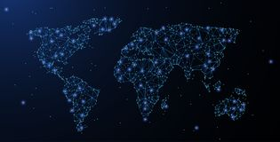 mapa ilustracyjny stary świat Poligonalni wireframe siatki spojrzenia jak gwiazdozbiór Pojęcia tło lub ilustracja royalty ilustracja