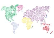 mapa ilustracyjny stary świat Rżnięci kontynenty również zwrócić corel ilustracji wektora Fotografia Stock