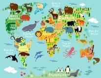 mapa ilustracyjny stary świat Obrazy Royalty Free