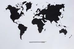 mapa ilustracyjny stary świat Ciie out papier Fotografia Royalty Free