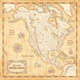 Mapa ilustrado de Norteamérica del vintage Fotos de archivo