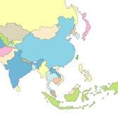 Mapa ilustrado de Ásia Imagens de Stock Royalty Free