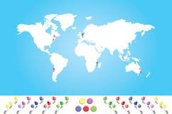 Mapa ilustrado do mundo com todos os continentes Fotos de Stock Royalty Free