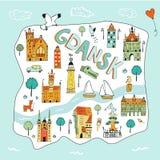 Mapa ilustrado exhausto de la mano de Gdansk stock de ilustración