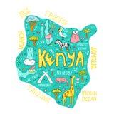 Mapa ilustrado exhausto de la mano de Kenia con las señales libre illustration