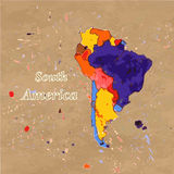 Mapa ilustrado vetor da Ámérica do Sul Foto de Stock Royalty Free