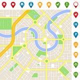 MAPA imaginário da cidade com ícones importantes dos lugares Fotos de Stock Royalty Free