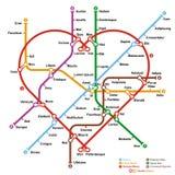 Mapa imaginário do metro na forma do coração Foto de Stock Royalty Free