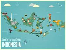 Mapa indonésio com animais e marcos ilustração stock