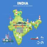 Mapa indystry liso do desenvolvimento moderno do país Fotos de Stock