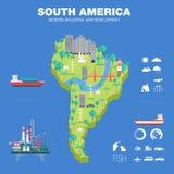 Mapa indystry liso do desenvolvimento moderno do país Foto de Stock Royalty Free