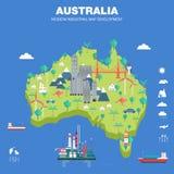 Mapa indystry liso do desenvolvimento moderno do país Fotos de Stock Royalty Free