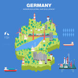 Mapa indystry liso do desenvolvimento moderno do país Imagens de Stock Royalty Free