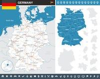 Mapa infographic de Alemania - ejemplo stock de ilustración