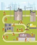 Mapa infographic de la planta de la construcción stock de ilustración