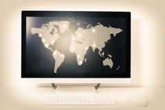 Mapa internacional de las conexiones Foto de archivo libre de regalías