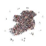 Mapa Irlanda de la forma del grupo de la gente Imágenes de archivo libres de regalías