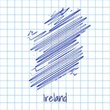 Mapa Irlandia, błękitny nakreślenie abstrakta tło ilustracji