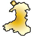 Mapa isolado do PrincipalityWales ilustração stock