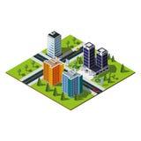 Mapa isométrico de la ciudad Fotografía de archivo libre de regalías