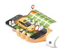 Mapa isométrico de la ciudad con el coche y edificios en el teléfono elegante El mapa en móvil navega el uso Imágenes de archivo libres de regalías