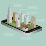 mapa isométrico de la navegación 3D de una pequeña ciudad en la tableta o el teléfono elegante Ruta de GPS Ejemplo aislado plano  Fotografía de archivo libre de regalías
