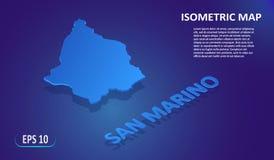 Mapa isométrico de SÃO MARINO Mapa liso estilizado do país no fundo azul Mapa de lugar 3d isométrico moderno ilustração do vetor
