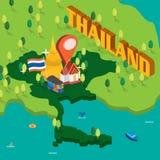 Mapa isométrico de Tailândia Foto de Stock Royalty Free